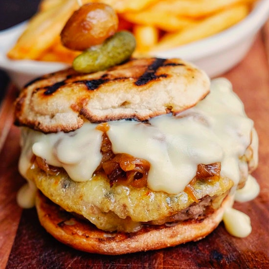 French Onion Soup Burger, Fries & Beer at Le Rivage